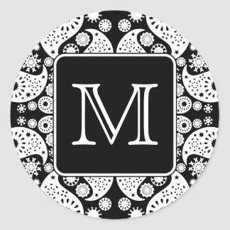 Custom Monogram on Monochrome Paisley Pattern. Round Sticker