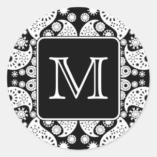 Custom Monogram on Monochrome Paisley Pattern. Round Sticker