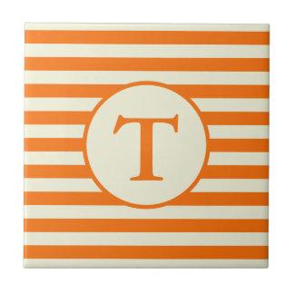 Custom Monogram on Orange and Beige Stripes Ceramic Tile