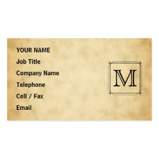 Custom Monogram on Parchment Style Pattern Business Card