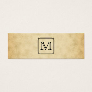 Custom Monogram on Parchment Style Pattern Mini Business Card