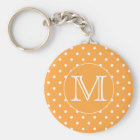 Custom Monogram. Orange and White Polka Dot. Key Ring