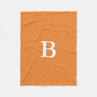 Custom Monogram Orange Blanket