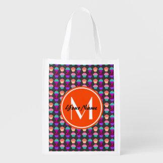 Custom monogram, personalized name reusable grocery bag