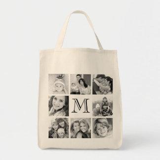 Custom Monogram Photo Collage Grocery Tote Bag