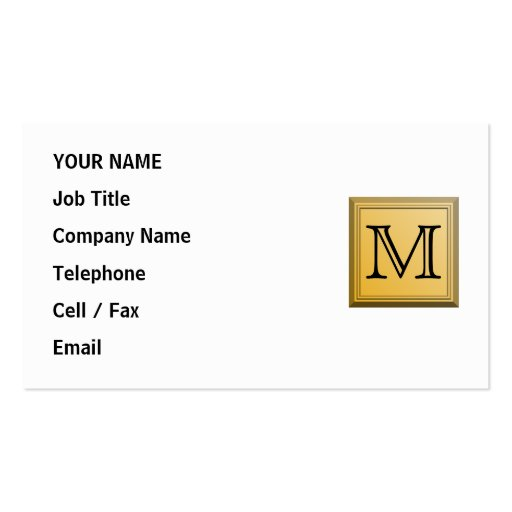 Custom Monogram Picture, nonmetallic gold colors. Business Card Templates