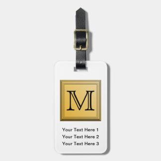 Custom Monogram Picture, nonmetallic gold colors. Luggage Tag