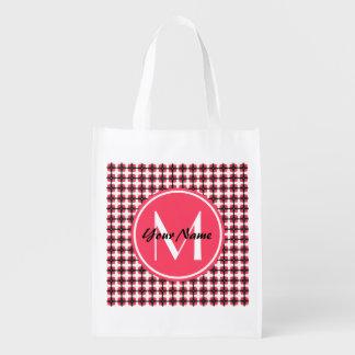 Custom Monogram Pink and Black Stylish Pattern Reusable Grocery Bag