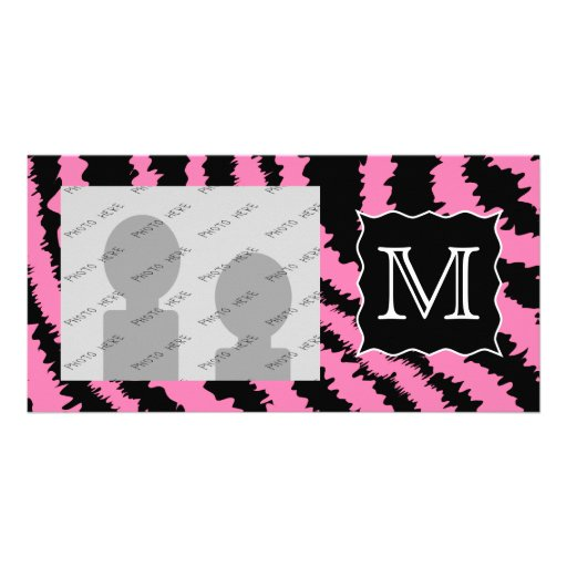 Custom Monogram Pink and Black Zebra Print Pattern Custom Photo Card