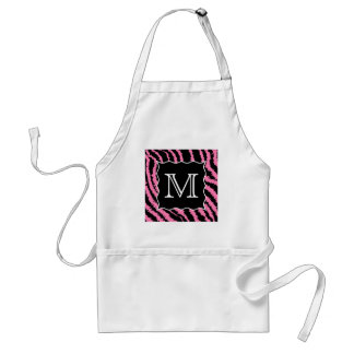 Custom Monogram Pink and Black Zebra Print Pattern Standard Apron