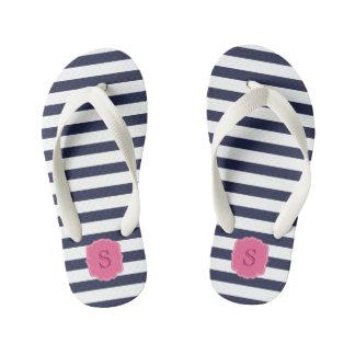 Custom Monogram Pretty Navy Blue Stripes Thongs