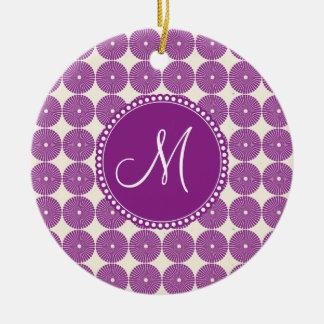 Custom Monogram Purple Circles Disks Buttons Christmas Tree Ornament