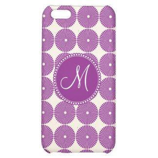 Custom Monogram Purple Circles Disks Buttons iPhone 5C Case