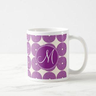 Custom Monogram Purple Circles Disks Buttons Mugs
