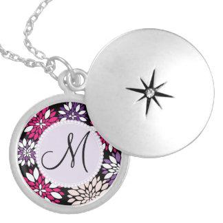 Custom Monogram Purple Pink White Flower Art Custom Jewelry