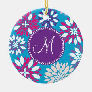 Custom Monogram Purple Pink White Flower on Blue Ceramic Ornament