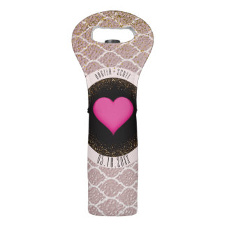 Custom Monogram Quatrefoil | Wedding Favor Wine Bag