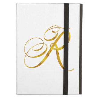 Custom Monogram R Faux Gold Foil Monograms Initial Case For iPad Air