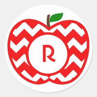 Custom monogram red and white chevron apple classic round sticker
