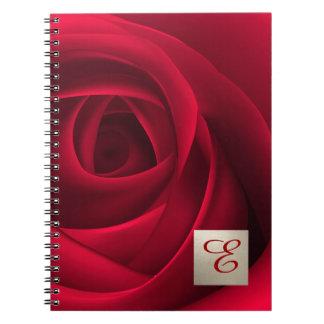 Custom Monogram Red Rose Design Gift Notebooks
