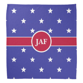 Custom Monogram Red White and Blue Bandana