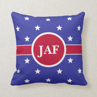 Custom Monogram Red White and Blue Throw Pillow