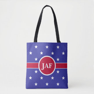 Custom Monogram Red White and Blue Tote Bag