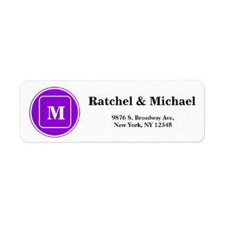 Custom Monogram Return Wedding Address Label