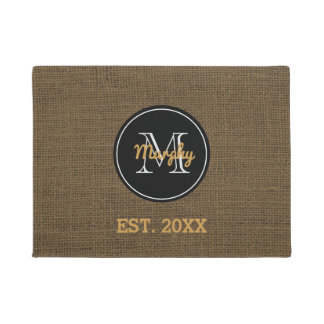 Custom Monogram | Rustic Burlap Family Name Year Doormat