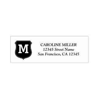 Custom monogram self inking return address stamps