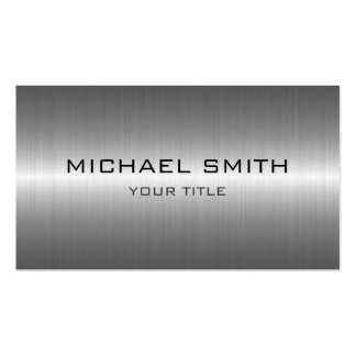 Custom Monogram Silver Stainless Steel Metal Pack Of Standard Business Cards