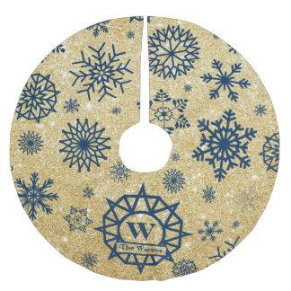 Custom Monogram Snowflake Christmas Gold Glitter Brushed Polyester Tree Skirt