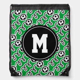 Custom monogram soccer drawstring backpack bag