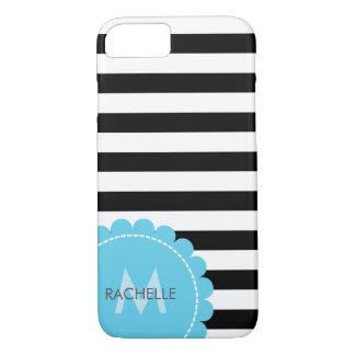 Custom Monogram • Striped • Modern • blue flower iPhone 7 Case