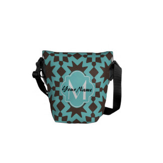 Custom Monogram Stylish Chic Decorative Pattern Messenger Bags