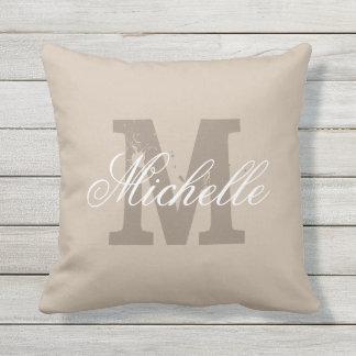 Custom monogram taupe beige outdoor throw pillow