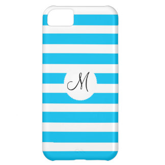 Custom Monogram Teal Blue and White Striped iPhone 5C Case