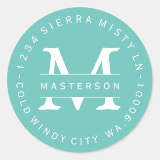 Custom Monogram Teal Circular Return Address Label Round Sticker