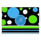 Custom Monogram Teal Green Stripes Polka Dots Card
