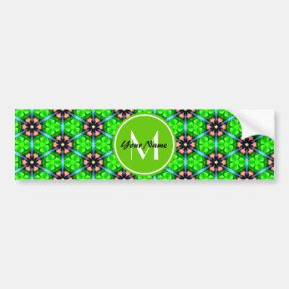 Custom Monogram Trendy Lime Green Floral Pattern Bumper Stickers