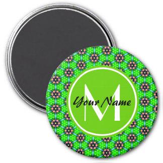 Custom Monogram Trendy Lime Green Floral Pattern Refrigerator Magnet