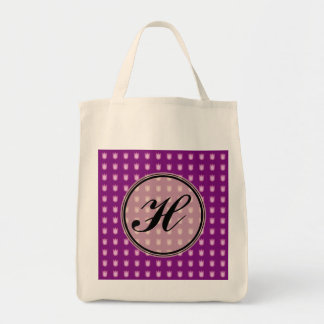 Custom monogram tulip design tote bag