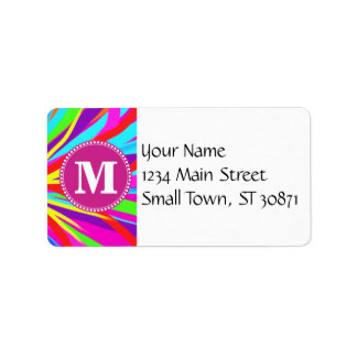 Custom Monogram Vivid Color Paint Brush Strokes Address Label