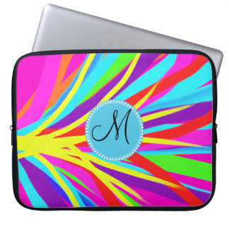 Custom Monogram Vivid Color Paint Brush Strokes Laptop Sleeve