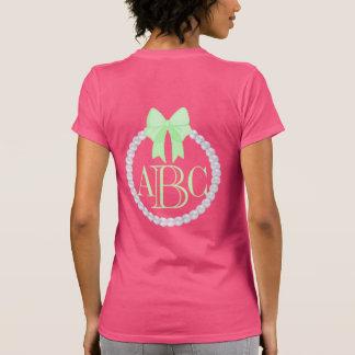 Custom Monogram w Pearls & Mint Bow frame T-Shirt