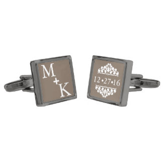 Custom Monogram Wedding Date Gunmetal Finish Cuff Links