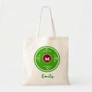 Custom Monogram Wedding Favor Tote Bag-Apple Green