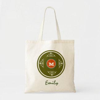 Custom Monogram Wedding Favor Tote Bag-Dark Green