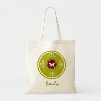 Custom Monogram Wedding Favor Tote Bag- Lime Green