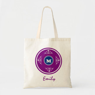Custom Monogram Wedding Favor Tote Bag-Purple